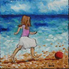 Peinture de CARIN 15x15 cm petite fille enfant plage mer Toile impressionnisme