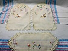 Antique 3 Piece set Embroidered Linens ~ Textiles ~ Butterflies and Flowers 1866