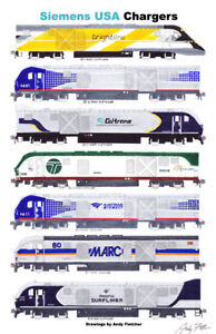 "Siemens Charger Locomotives 11""x17"" Poster by Andy Fletcher signed"