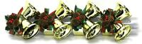 Set of 4 Christmas Jingle Bells & Pine-cone Napkin Rings Gold Tone Metal NIB