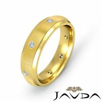 Round Bezel Diamond Mens Eternity Wedding Band Solid Ring 14k Yellow Gold 0.16Ct
