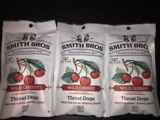 90 Smith Bros Brothers Wild Cherry Cough Throat Drops (3) 30 Count Bags Exp 6/20