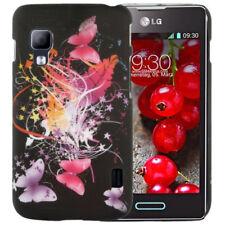 HardCase Cover für LG E455 Optimus L5 II Dual Schmetterlinge pink lila schwarz