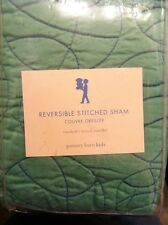 Pottery Barn Kids REVERSIBLE STITCHED Basketball PILLOW SHAM Std Green Blue NEW