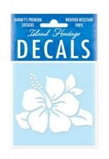 "3"" HAWAIIAN HAWAII Hibiscus White Vinyl Car Window Decal Sticker #01883000"