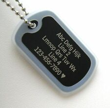 PERSONALIZED Dog Tag Necklace VERTICAL Wording - BLACK with CLEAR Silencer