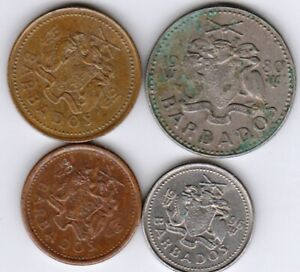 4 different world coins from BARBADOS