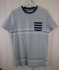 Jack & Jones Blue & White Stripe Short Sleeve Casual T-Shirt Size Large