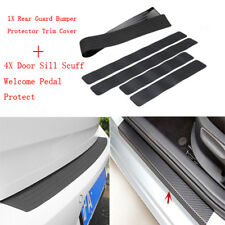1x Car Rear Trunk Sill Plate Bumper Guard Protector Rubber Pad Cover+4x Stickers