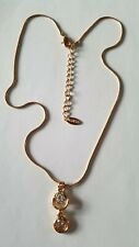 Used LBVYR Gold Tone Snake Chain Round Beaded Pendant Choker Statement Necklace