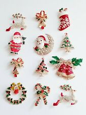 12 Christmas Pins Brooch Lot Holiday Brooch Christmas Tree Santa/Gift Lot
