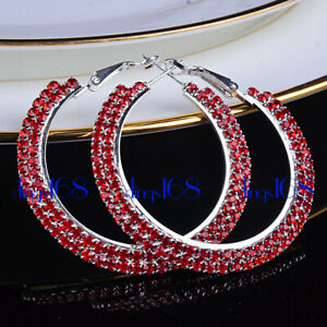 """18K White Gold Filled Tarnish-Free 50mm/2"""" 2 Row RED Crystal Hoop Earrings A3B"""