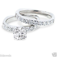 1.50 CT Diamond Solitaire Bridal set Engagement Ring 10K White Gold Free Sizing