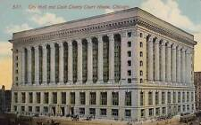 Antique Postcard c1910s City Hall Cook County Court House Chicago, Il 17626