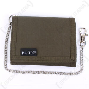 Olive Green Wallet with Security Chain - Army Military Soldier Coin Purse Mens