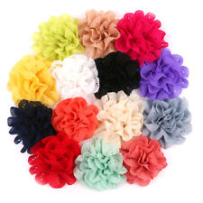 7PCS Baby Girls Bows Chiffon Flower Without Clip Hand Craft DIY Baby Headwear OH