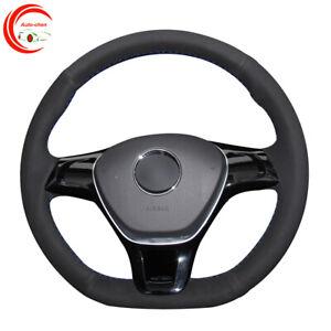 Black Suede Car Steering Wheel Cover for Volkswagen Golf 7 (VII) Passat Alltrack