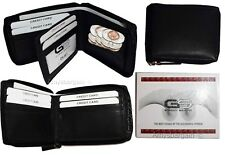 Leather RFID wallet Men's zip around leather 2 billfolds 7 card ID change in Box
