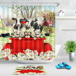 """Daisy Flowers Cows Red Truck Farmhouse Waterproof Fabric Shower Curtain Set 72"""""""