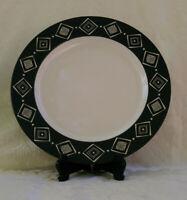 "Pottery Barn BONGO BLACK Ceramic Serving Platter Diamond Pattern - 12.5"""