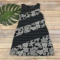 Maeve Anthropologie Effemy Jacquard Dress Size M Black White Floral Polka Dot