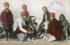 CARTE POSTALE / ALGERIE / JEUNES ARABES JOUANT AUX CARTES + CACHET