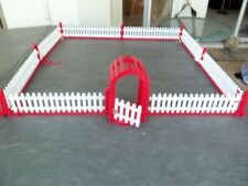 "Vtg Wood Christmas Tree Fence & Working Gate!  34"" SQUARE!  WHITE & RED!"