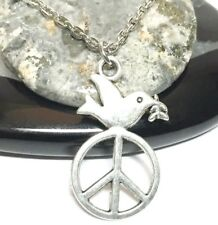 "PEACE DOVE_Small Pendant on 18"" Chain Necklace_Bird Love Anti-War Silver_51N"