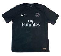Nike Paris Saint-Germain 2017 Dri-Fit Fly Emirates Black Soccer Jersey Large