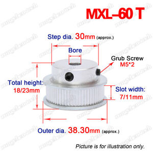 """MXL60T Timing Belt Pulley Wheel 5-20mm Bore 2/25"""" Pitch For 6/10mm Wide Belt"""