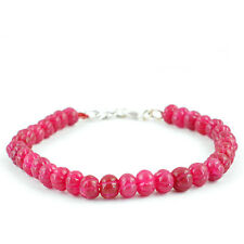 Ruby Round Shaped Carved Beads Bracelet Elegant 105.00 Cts Earth Mined Rich Red