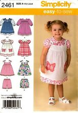 Simplicity Sewing Pattern 2461 Toddlers' Dress, Pinafore and Shorts 1/2-4 NEW