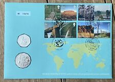 More details for 2005 b/u australia 50 cent coin + uk 50p coin cover pnc world heritage sites