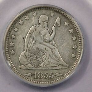 1855-P 1855 Seated Liberty Quarter ICG VF25 With Arrows