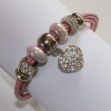 Bettel Armband Leder Armschmuck Beads Charms Herz Anhänger Strass Rosa