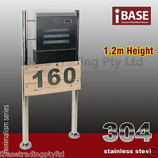 TIMBER HOUSE NUMBER STAINLESS STEEL MAILBOX LETTERBOX MAIL LETTER BOX STAND FREE