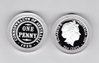 1999 SILVER Proof 10 cent of 1930 Penny Coin ex Masterpieces Set Australia ***