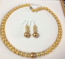 """Genuine 8-12mm Golden South Sea Shell Pearl Necklace 18""""+Earrings"""