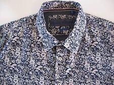 Men's XXL FlipCuff Report Collection Casual Shirt 100% Cotton Blue White Floral