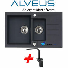ALVEUS BLACK ONYX GRANITE 1.5 BOWL SQUARE KITCHEN SINK DRAINER WITH TAP&WASTE