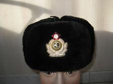 CHAPKA russe uchanka OFFICIER Marine Naval SOVIETIQUE MOUTON CUIR fourrure t.58