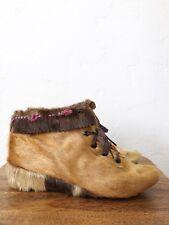 vtg Ravens Wing Beaver Fur booties slippers Folk sz 6.5 7