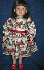 """Christmas Horses at the Barn -Dress and Purse -Fits 23"""" My Twinn Doll"""