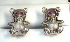 Beautiful Men's Pure 10K White Gold Baby Bear With Rubie Eyes Cufflinks Set