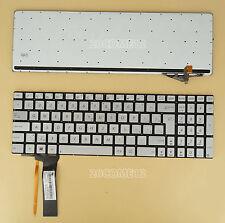 for ASUS R552JK R552JV R552LF Keyboard Backlit Slovak slovenčina Silver