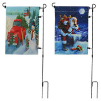 Weather-Proof Garden Flag Pole Stand Holder & Flags Christmas Outdoor Yard Decor