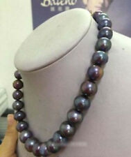 Stunning 9-10mm round tahitian huge black red green pearl necklace 18""