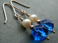 Art Deco Bristol Blue Glass Beads & Cultured Pearls & Rolled Rose Gold Earrings