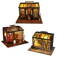 DIY Vintage Cottage Mini Dollhouse Miniature Wooden Furniture Doll House Gift
