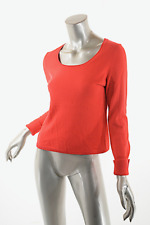 ERIC BOMPARD Poppy Red Cashmere Silk Blend V-Neck Sweater  Sz M  PRETTY